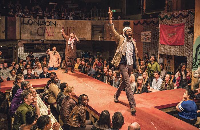 Ben Turner and Jonathan Nyati in The Jungle at the Playhouse Theatre, London. Photo: Tristram Kenton