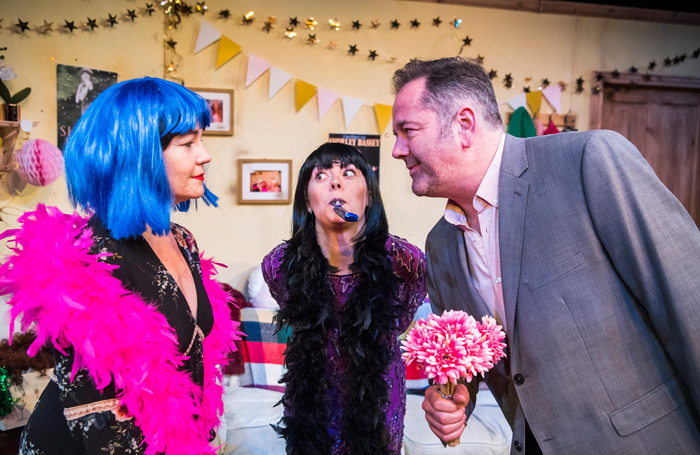 Caroline Faber, Alice Sykes  and James Doherty in In Lipstick at the Pleasance Theatre. Photo: Tristram Kenton