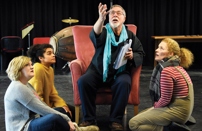 Nicola Sanderson, Olivia Onyehara, Barrie Rutter and Sarah Naughton in rehearsals for Jack Lear. Photo: Nobby Clark