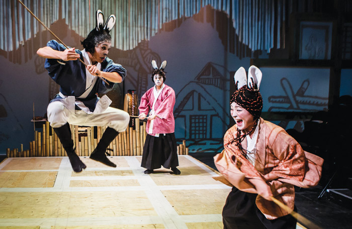 Jonathan Raggett, Siu Hun Li and Haruka Kuroda in Usagi Yojimbo at Southwark Playhouse (2014). Photo: Richard Davenport