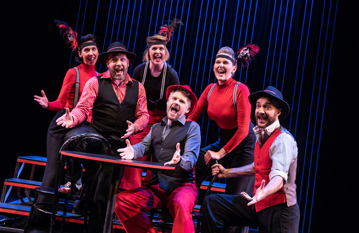 The cast of Showstopper! The Improvised Musical at the Other Palace, London. Photo: Savannah Photographic