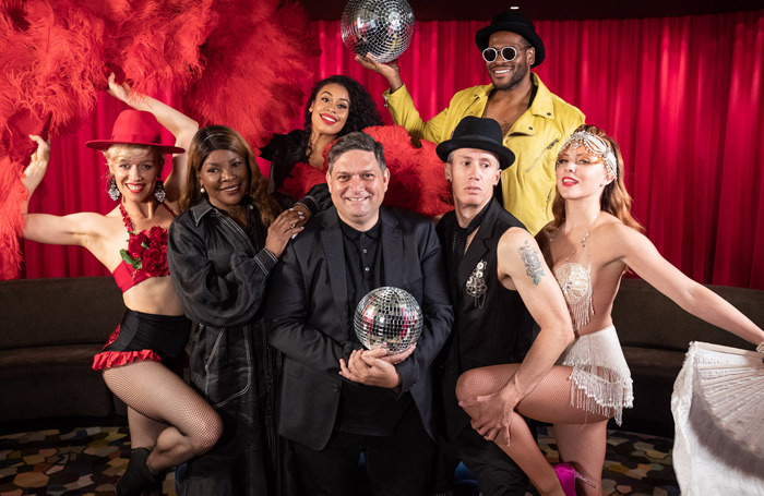 Wesley Enoch, centre, at the festival launch with performers. Photo: Daniel Boud