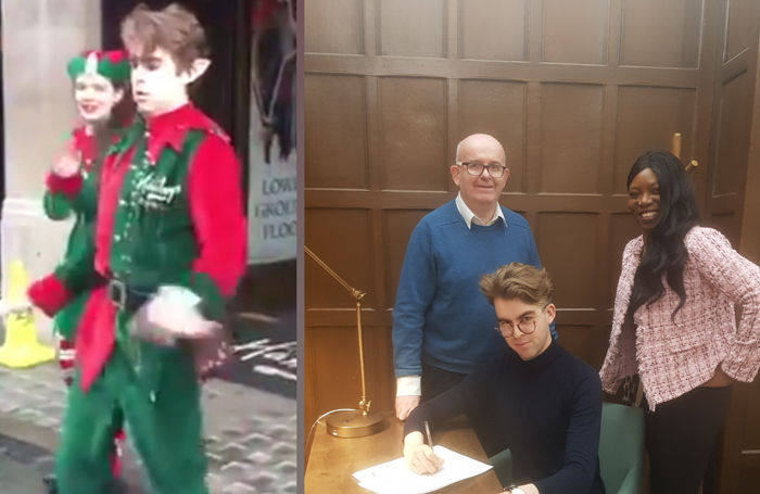 Mike Rogers left dancing outside Hamleys at Christmas and right signing his contract with New Wonder Management