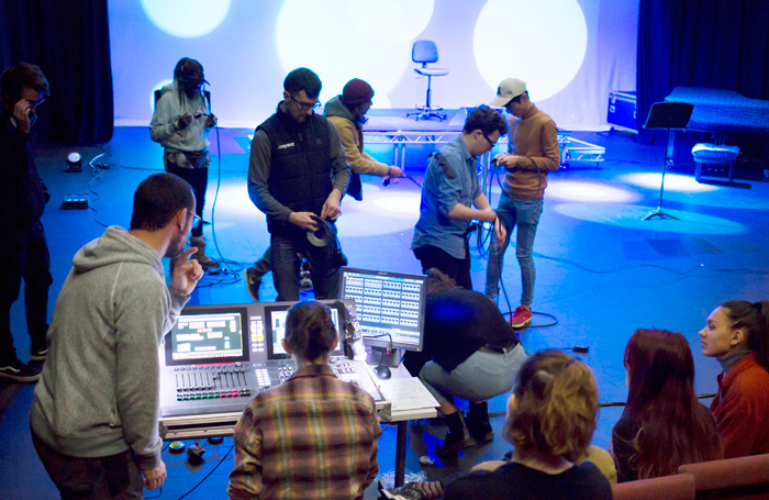 Falmouth students taking part in an automated lighting workshop. Photo: Matt Jessop