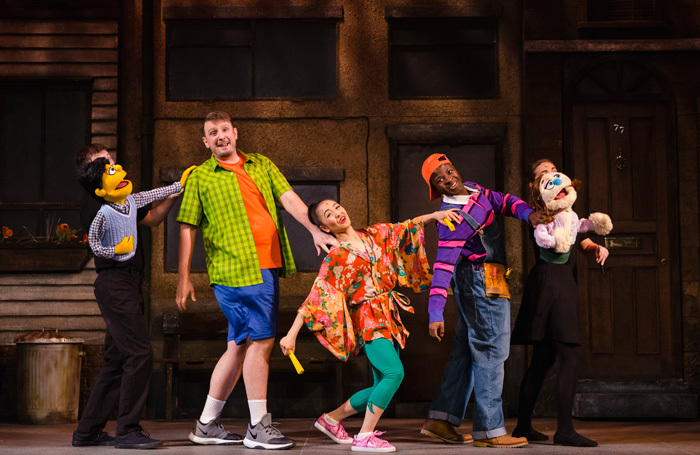 The cast of Avenue Q at New Wimbledon Theatre, London