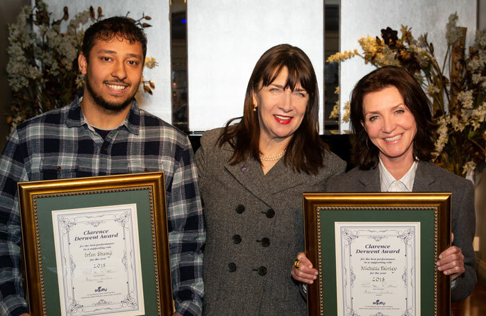 Irfan Shamji, Equity president Maureen Beattie, and Michelle Fairley at the Clarence Derwent Awards.