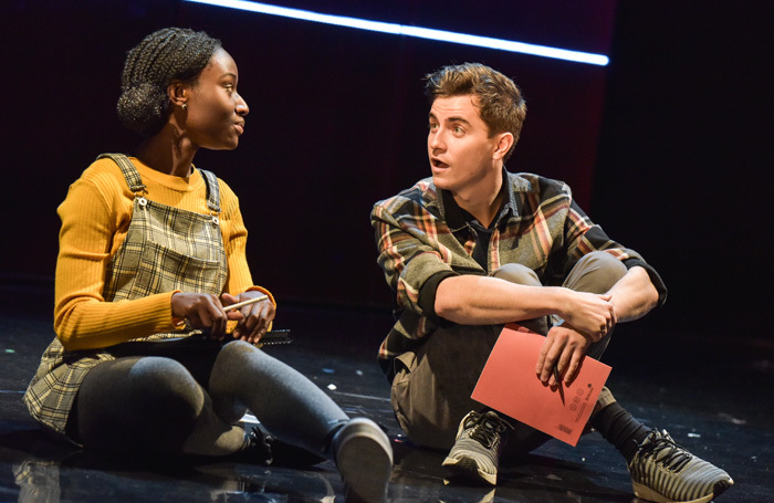 Heather Agyepong and Billy Cullum in Noughts and Crosses at Derby Theatre. Photo: Robert Day