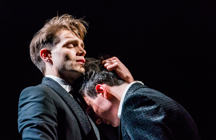 Andrew Burnap  and Samuel H Levine in The Inheritance at the Young Vic, London. Photo: Tristram Kenton