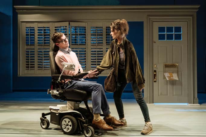 Jack Hunter and Emily Barber in The Cost of Living at London's Hampstead Theatre, which features an actor with cerebral palsy and a woman who is a double amputee. Photo: Manuel Harlan