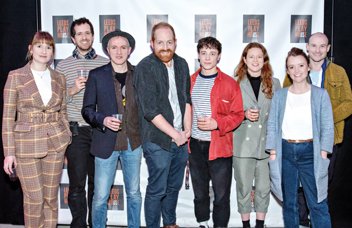 Assistant director Lucy Allan, lighting designer Christopher Nairne, Jack Lord (cast), director Martin Leonard, Lucas Button (cast), assistant sound designer Charlotte Bickley, director Amy Leach and composer John Biddle at the Kes press night at Leeds Playhouse. Photo: Anthony Robling
