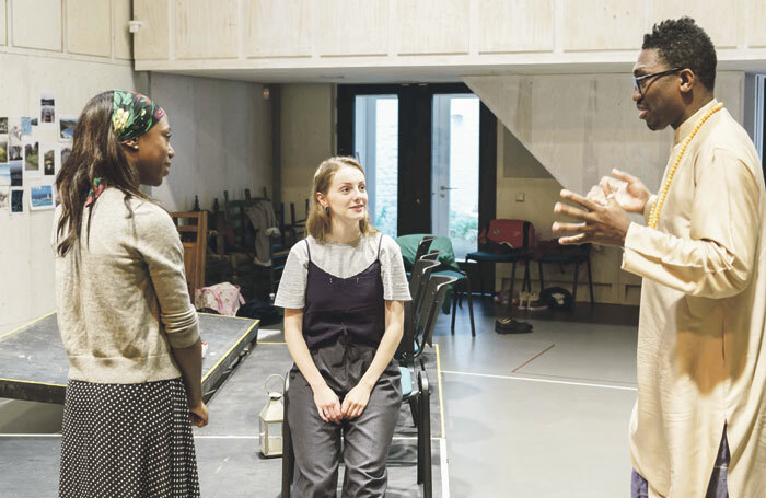 Seasoned director Kwame Kwei-Armah directing Nikki Amuka-Bird and Helena Wilson in rehearsals  for The Lady from the Sea at the Donmar Warehouse. Photo: Manuel Harlan