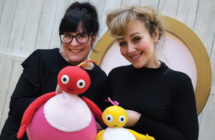 Ruth Calkin and Lizzie Wort in rehearsals for Twirlywoos. Photo: MEI Theatrical