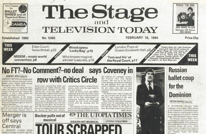 The Stage front cover on February 16, 1984