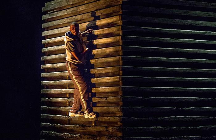 Kwaku Mills in Good Dog at Watford Palace Theatre. Photo: Wasi Daniju