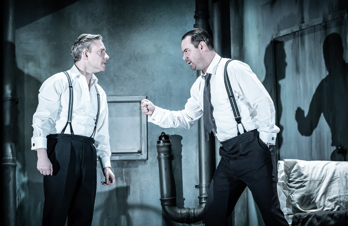 Martin Freeman and Danny Dyer in The Dumb Waiter at The Harold Pinter Theatre, London. Photo: Marc Brenner