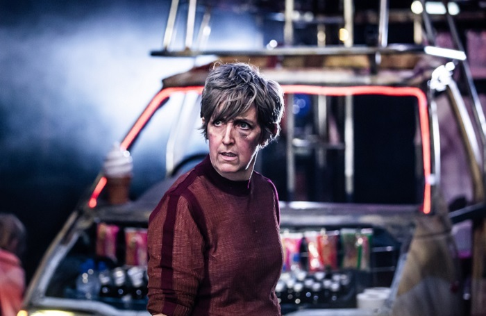 Julie Hesmondhalgh in Mother Courage and Her Children at Royal Exchange Theatre, Manchester. Photo: Richard Davenport