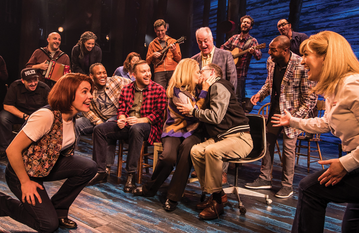 Cast of Come from Away at the Phoenix Theatre, London. Photo: Matthew Murphy