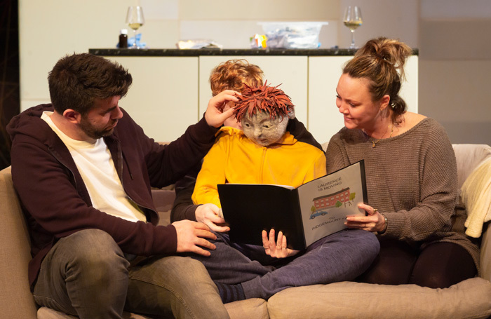 Simon Lipkin, Hugh Purves and Charlie Brooks in All in a Row at Southwark Playhouse, London. Photo: Nick Rutter