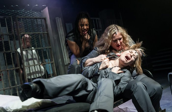 Scene from Bad Girls: The Musical at Upstairs at the Gatehouse, London. Photo: Lidia Crisafulli