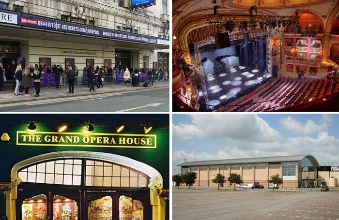 BECTU is claiming back payments from ATG for staff at venues including, clockwise from top left: Liverpool Empire, Bristol Hippodrome (photo: Mike Hume), Grimsby Auditorium and York's Grand Opera House