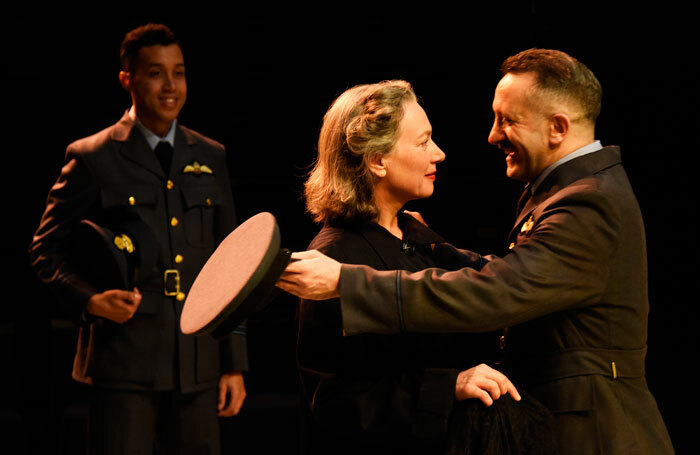 Linford Johnson, Isobel Middleton and Robin Simpson in Much Ado About Nothing at New Vic Theatre, Newcastle-under-Lyme. Photo: Nobby Clark