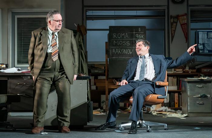 Mark Benton and Nigel Harman in Glengarry Glen Ross at New Alexandra Theatre, Birmingham. Photo: Marc Brenner