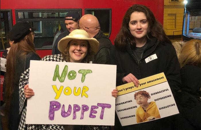 Protesters outside Southwark Playhouse. Photo: Erin Ekins