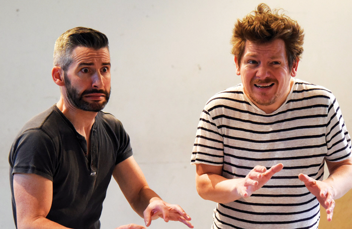 Owen Sharpe and Kevin Trainor in rehearsals for the UK touring production for Stones in His Pockets. Photo: Nobby Clark