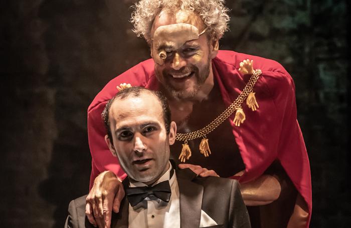 Khalid Abdalla and Elliot Cowan in Anne Washburn's Shipwreck at the Almeida Theatre. Photo: Marc Brenner