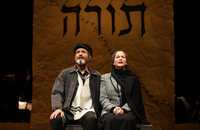Steven Skybell and Jennifer Babiak in Fiddler on the Roof (A Fidler Afn Dakh) at Stage 42 in New York. Photo: Matthew Murphy