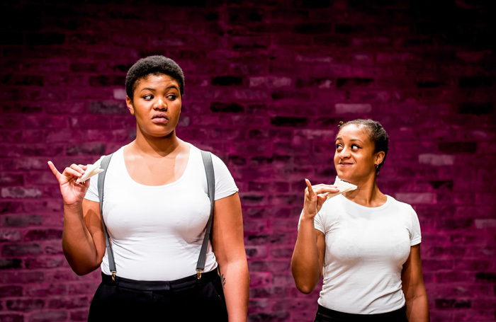 Kudzanayi Chiwawa and Ayesha Casley-Hayford In The Importance of Being Earnest at Tara Theatre, London. Photo: Harry Elletson