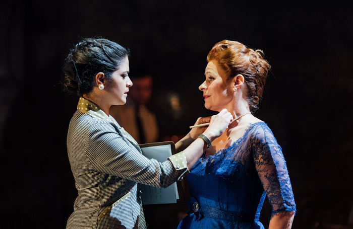 Davina Moon and Suzanna Hamilton in The Mirror Crack'd at Salisbury Playhouse. Photo: Helen Murray