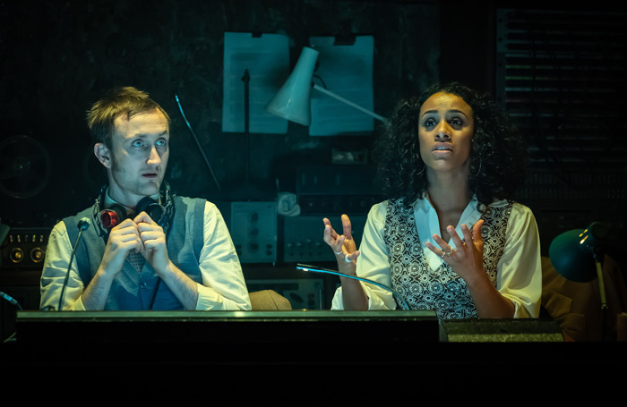 Tom Brooke and Lara Rossi in Berberian Sound Studio at Donmar Warehouse, London. Photo: Marc Brenner