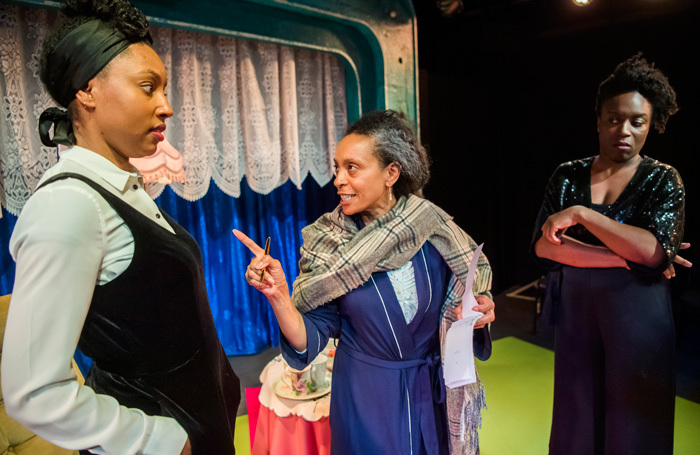 Ani Nelson, Lachele Carl and Sharlene Whyte  in The Trick at Bush Theatre. Photo: Tristram Kenton