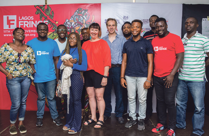 Julian Caddy (centre), with Lagos Fringe staff and workshop attendees