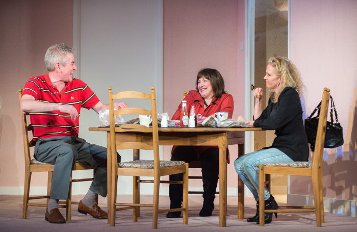 Peter Temple, Beverley Klein and Lucy Benjamin in In Basildon at Queen's Theatre, Hornchurch. Photo: Mark Sepple