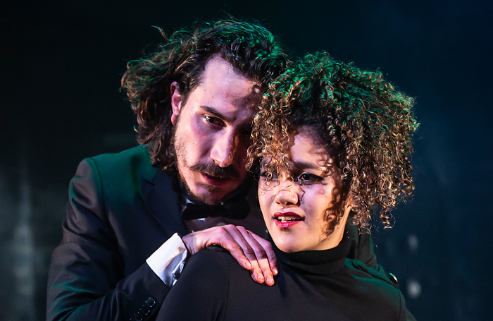 Billy Postlethwaite and Emma McDonald in Macbeth at the Watermill Theatre, Newbury. Photo: Pamela Raith