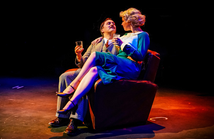 Isaac Stanmore and Rebecca Brewer in The 39 Steps at New Vic Theatre. Photo: Andrew Billington