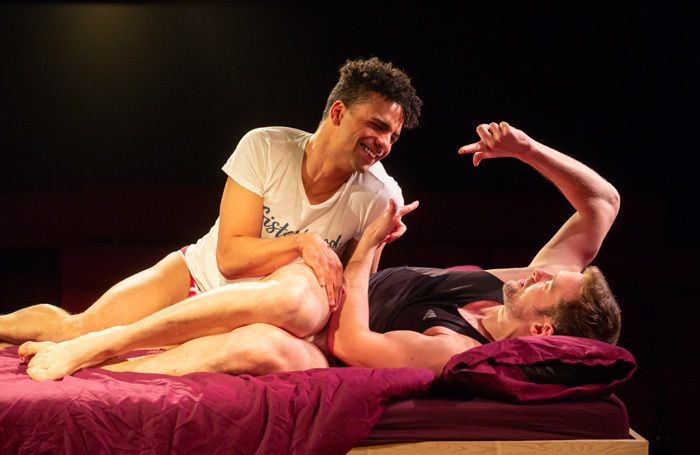 Lewis Brown and Freddie Hogan in Undetectable at King's Head Theatre, London. Photo: Nick Rutter