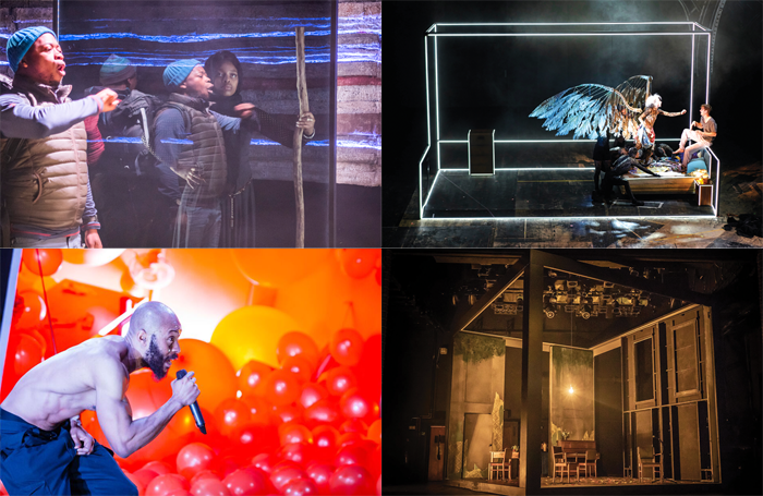 Clockwise from top: Black Men Walking, Angels in America, Pinter at the Pinter and Misty