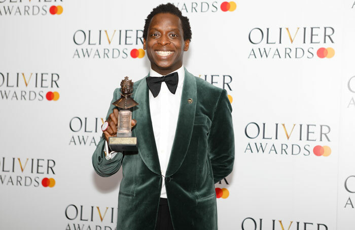 Kobna Holdbrook-Smith with the award for best actor in a musical for Tina – The Tina Turner Musical at the Olivier Awards 2019. Photo: Pamela Raith