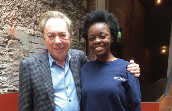 Andrew Lloyd Webber and Moronke Akinola, who is currently training at Bristol Old Vic with funding from ALWF. Photo: Pamela Rudge