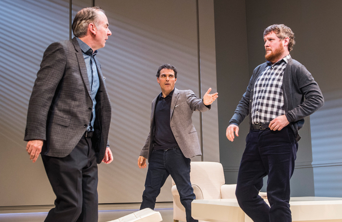 Paul Ritter, Rufus Sewell and Tim Key in Yasmina Reza's entertaining and thought-provoking play Art at the Old Vic in 2016. Photo: Tristram Kenton