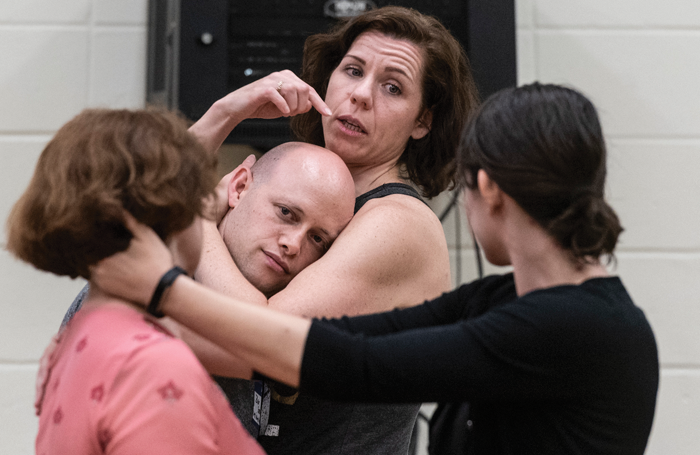 Claire Warden, ITI co-founder, and intimacy assistant Zev Steinrock demonstrating intimacy choreography