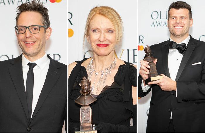 Left to right: Jon Clark, who won the Olivier award for best lighting design; Catherine Zuber, winner of the best costume design award; and Gareth Owen, winner of the best sound designer award. Photos: Pamela Raith