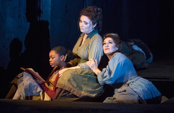 Ashirah Foster Notice, Natalya Romaniw and Marie McLaughlin in Jack the Ripper: The Women of Whitechapel at London Coliseum. Photo: Alastair Muir