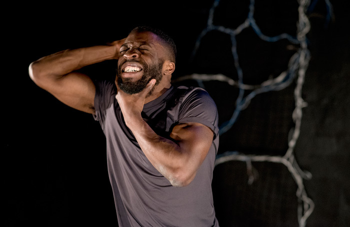 Lanre Malaolu in Elephant in the Room at Camden People's Theatre, London. Photo: Camilla Greenwell