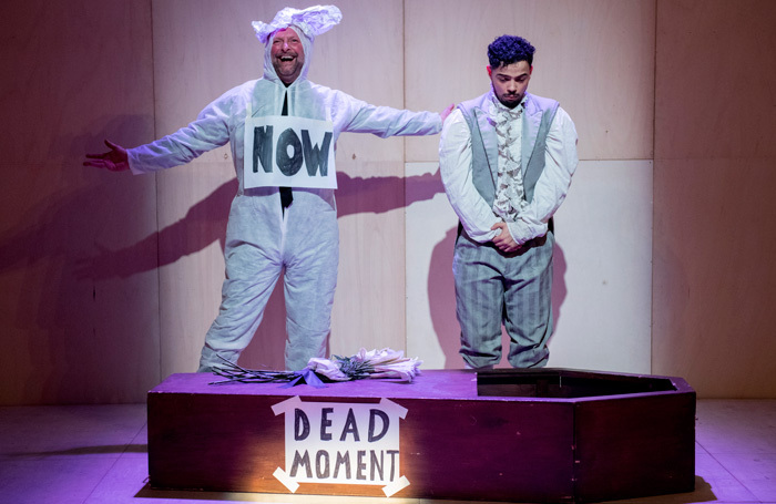 Nigel Barrett and Riad Richie in The Show in Which Hopefully Nothing Happens at the Unicorn Theatre, London. Photo: Camilla Greenwell