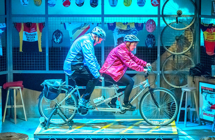 John Godber and Jane Thornton in Scary Bikers. Photo: Antony Robling