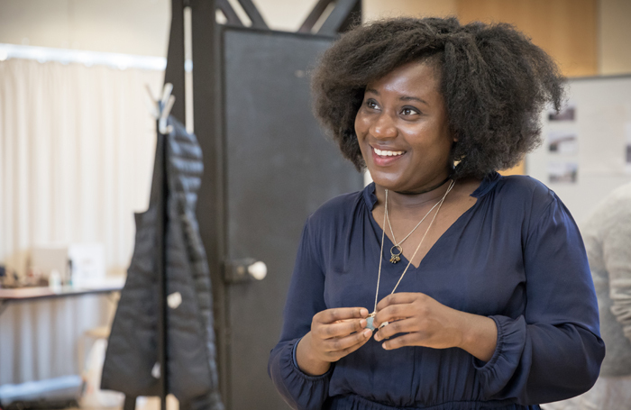 Susan Wokoma in rehearsals for Labour of Love – like many black actresses, she has had to arrange her own hair-styling. Photo: Marc Brenner
